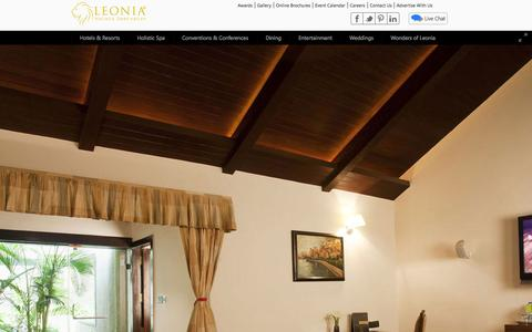 Screenshot of Home Page leonia.in - Leonia Holistic Destination - Hotels & Resorts, Integrated Medicine in Hyderabad - captured Sept. 22, 2014