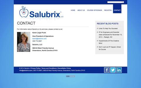 Screenshot of Contact Page salubrix.com - Salubrix » Contact - captured Oct. 3, 2014