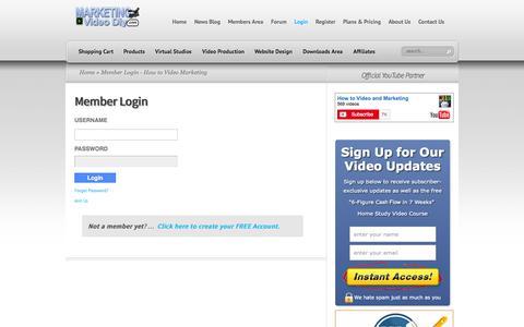 Screenshot of Login Page marketingvideodiy.com - Member Login - How to Video Marketing - captured Sept. 19, 2014