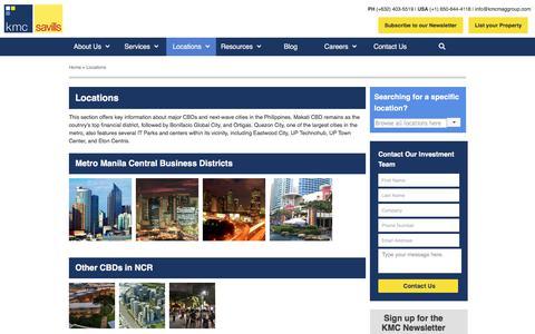Screenshot of Locations Page kmcmaggroup.com - Location   KMC Savills Inc. - captured Sept. 23, 2018