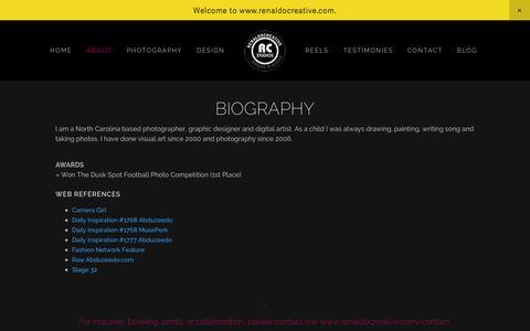 Screenshot of About Page renaldocreative.com - About — Renaldo Creative - captured Nov. 5, 2014