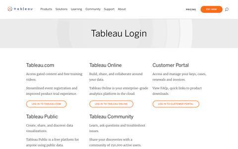 Screenshot of Login Page tableau.com - Tableau Login | Tableau Software - captured Oct. 4, 2019