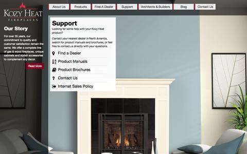 Screenshot of Support Page kozyheat.com - Kozy Heat Fireplaces | Gas Direct Vent, Gas Insert and Wood Burning Fireplaces - captured Oct. 6, 2014
