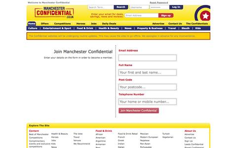 Screenshot of Signup Page manchesterconfidential.co.uk captured Sept. 19, 2014