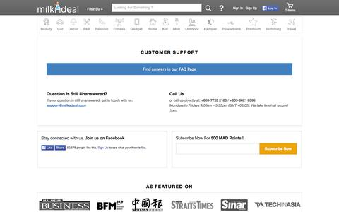 Screenshot of Support Page milkadeal.com - Customer Support - MilkADeal - captured Sept. 16, 2014