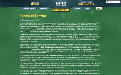 Screenshot of Terms Page ning.com - Terms of Service | Ning.com - captured June 17, 2015