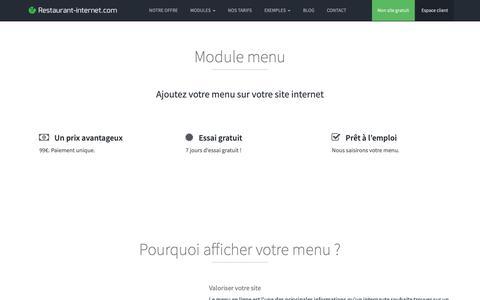 Screenshot of Menu Page restaurant-internet.com - Module menu pour site internet restaurant - Restaurant-Internet.com - captured Oct. 18, 2018