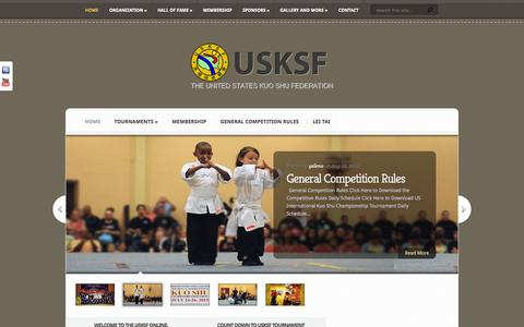 Screenshot of Home Page usksf.org - United States Kuo Shu Federation - captured Oct. 10, 2015