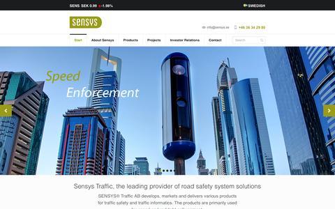 Screenshot of Home Page sensys.se - Sensys Traffic - Start - captured Oct. 7, 2014