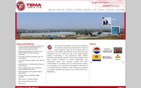 Screenshot of Home Page temaindia.com - Heat Exchangers|Breech Lock|Screw Plug|Helixchangers|Power Sector Equipment| - captured Oct. 7, 2014