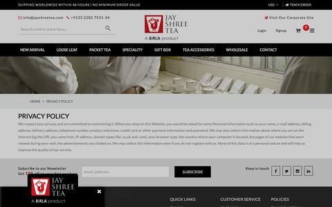 Screenshot of Privacy Page jayshreetea.com - Privacy Policy - captured Dec. 20, 2018