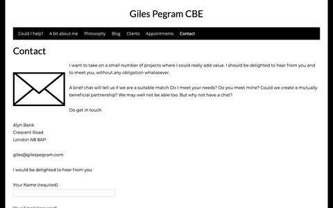 Screenshot of Contact Page gilespegram.com - Contact - Giles Pegram CBE - captured Sept. 28, 2018