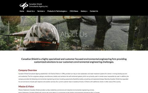 Screenshot of About Page canadianshieldconsultants.com - About Us | Canadian Shield Consultants - captured Jan. 25, 2016
