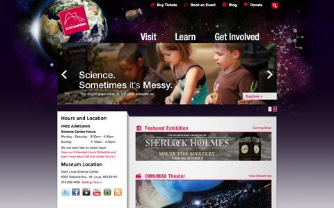 Screenshot of Home Page slsc.org - Saint Louis Science Center - captured Sept. 25, 2014