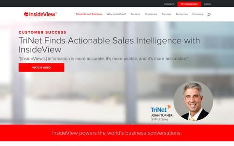 Screenshot of Home Page insideview.com - Market Intelligence Platform Solutions Sales and Marketing - InsideView - captured March 2, 2016