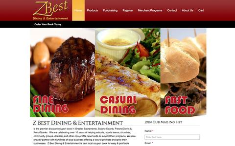 Screenshot of Home Page zbestdining.com - Z Best Dining & Entertainment - Dining & Entertainment Coupon Books, Fundraising, School Fundraising Ideas - captured Sept. 24, 2016