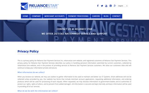 Screenshot of Privacy Page reliancestar.com - Privacy Policy - Reliance Star Payment Services - captured Feb. 4, 2016