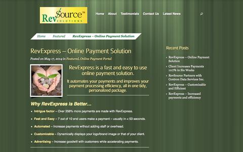 Screenshot of About Page revsourcesolutions.com - RevExpress – Online Payment Solution | RevSource Solutions - captured Sept. 30, 2014
