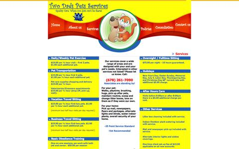 Screenshot of Services Page twodadspets.com - Pet Transportation, Overnight Sitting, Obedience Training, After Hours Care and more - all offered by Two Dads Pet Services - captured Oct. 7, 2014