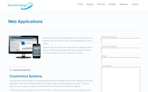 Screenshot of Services Page essentialdesigns.net - Web Applications | Mobile & Web App Developers in Vancouver - captured Jan. 31, 2016