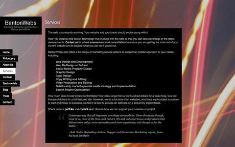 Screenshot of Services Page bentonwebs.com - Web Design Services   BentonWebs   Bonsall, Fallbrook, San Diego - captured Sept. 30, 2014