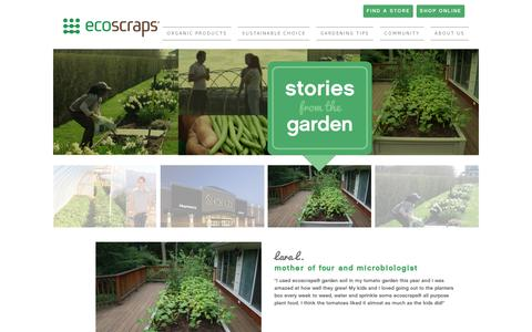 Screenshot of Testimonials Page ecoscraps.com - Testimonials - EcoScraps Potting Mix, Compost, & Plant Food - captured July 19, 2014