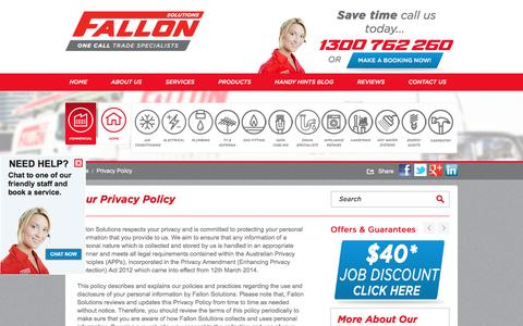 Screenshot of Privacy Page fallonsolutions.com.au - Fallon Solutions | Privacy Policy - captured Nov. 25, 2016