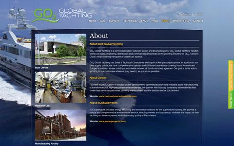 Screenshot of About Page go2globalyachting.com - About | GO2 Yacht Superyacht & Marine Fuel Additive |GO2 Global Yachting | Diesel Fuel Additive - captured Oct. 28, 2014