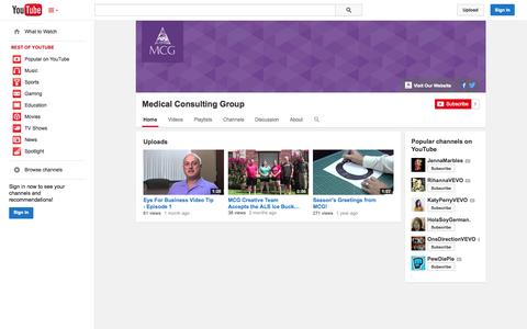 Screenshot of YouTube Page youtube.com - Medical Consulting Group  - YouTube - captured Nov. 3, 2014