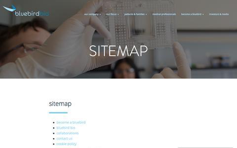 Screenshot of Site Map Page bluebirdbio.com - Sitemap - Bluebird Bio - captured Dec. 15, 2016