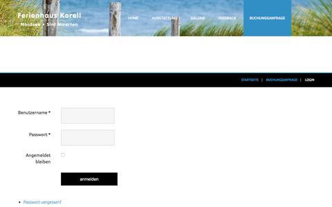 Screenshot of Login Page ferienhaus-korell.de - Login - Ferienhaus Nordsee Sint Maarten - captured June 2, 2018