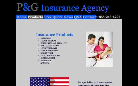Screenshot of Products Page pginsuranceagency.com - Products - P&G Insurance Agency - captured Sept. 26, 2014