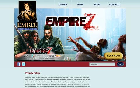 Screenshot of Privacy Page ember-entertainment.com - Privacy Policy – Ember Entertainment - captured Sept. 16, 2014
