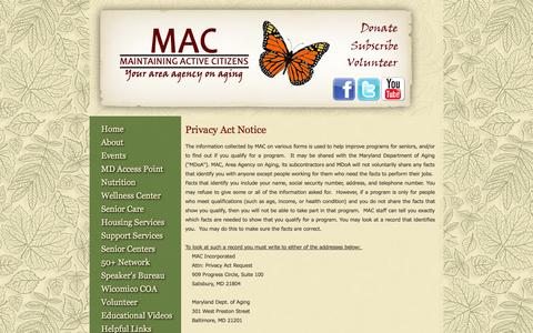 Screenshot of Privacy Page macinc.org - Privacy Policy - MAC Inc., Maintaining Active Citizens, Your Area Agency on Aging - captured Oct. 3, 2014