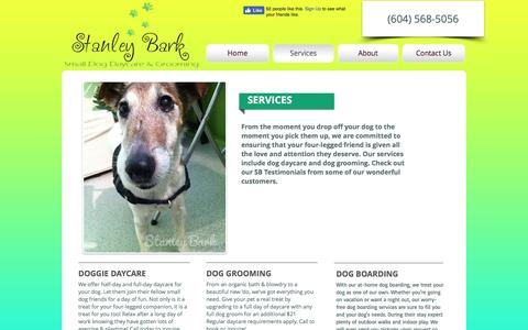 Screenshot of Services Page stanleybark.com - Stanley Bark | Dog Daycare, Grooming and Boarding - captured Dec. 9, 2016