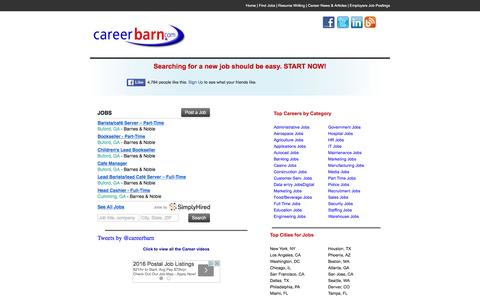Screenshot of Home Page careerbarn.com - Jobs & Job Search | Employment and Careers | View All Job Openings. Careerbarn.com - captured Jan. 25, 2016
