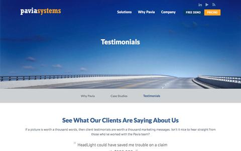Screenshot of Testimonials Page paviasystems.com - Testimonials | Pavia Systems - captured Jan. 26, 2016