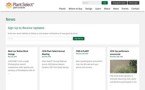 Screenshot of Press Page plantselect.org - Timely news releases from Plant Select | Plant Select - captured Nov. 5, 2018