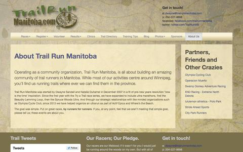 Screenshot of About Page trailrunmanitoba.com - About Trail Run Manitoba | Trail Run Manitoba - Get off the Roads and Get Dirty! - captured Sept. 30, 2014