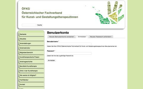 Screenshot of Login Page kunsttherapie-fachverband.org - Benutzerkonto   ÖFKG  Österreichischer Fachverband  für Kunst- und GestaltungstherapeutInnen - captured April 3, 2017