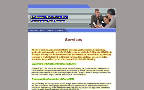 Screenshot of Services Page aepowersolutions.com - AE Power Solutions, Inc - captured Oct. 4, 2014
