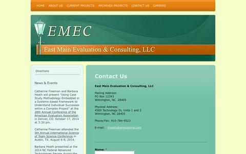 Screenshot of Contact Page emeconline.com - Contact Us - East Main Educational Consulting, LLC - captured Oct. 1, 2014