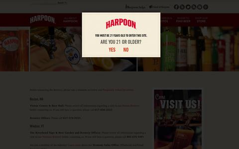 Screenshot of Contact Page harpoonbrewery.com - Contact Us - Harpoon Brewery - captured July 11, 2016