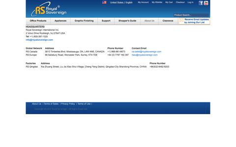 Screenshot of Locations Page royalsovereign.com - Locations - About Us - captured June 29, 2017