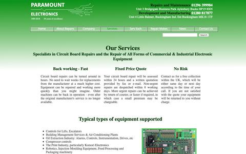 Screenshot of Services Page paramountelectronics.co.uk - Electronic Equipment Repair Services | Paramount Electronics - captured Sept. 26, 2018