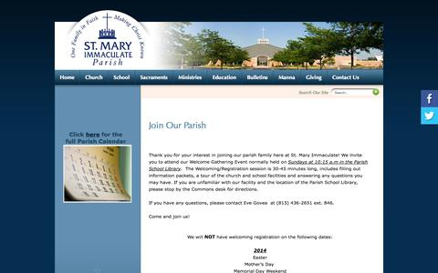 Screenshot of Signup Page smip.org - St Mary Immaculate Parish: Join Our Parish - captured Oct. 6, 2014