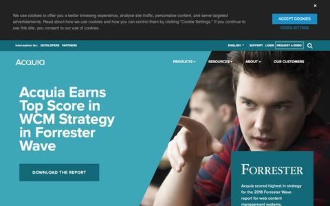 Screenshot of Home Page acquia.com - Digital Experience Platform for Content, Community, Commerce | Acquia - captured Dec. 10, 2018