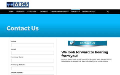 Screenshot of Contact Page iabcs.org - Contact Us - IABCS - International Association of Bible Colleges and Seminaries - captured Dec. 4, 2017