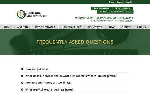 Screenshot of FAQ Page frls.org - Frequently Asked Questions – Florida Rural Legal Services - captured Oct. 10, 2018