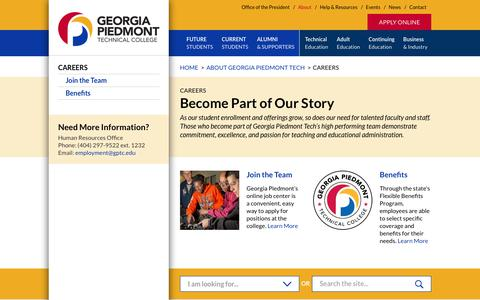 Screenshot of Jobs Page gptc.edu - Careers – Georgia Piedmont Technical College - captured Sept. 28, 2018